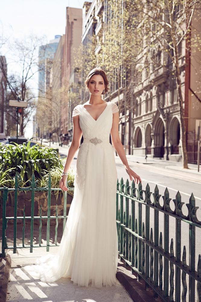 elegant-v-neck-softly-fluted-cap-sleeve-slim-wedding-dress-1